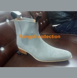 Handmade Men Gray Color Chelsea Boots Men Pointed Toe Chelsea Boots