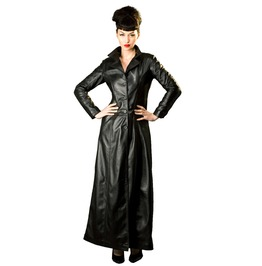 Black Sexy Woman Gothic Trench Jacket Leather Coat Fitted Long Floor Length
