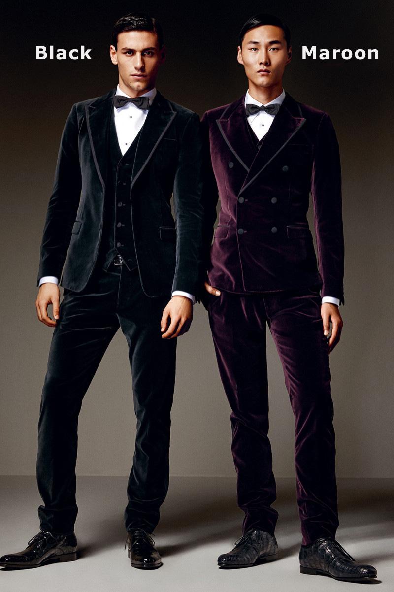 Men Suit Slim Fit 3 Piece Wedding Velvet Gothic Custom Groom Prom Suit