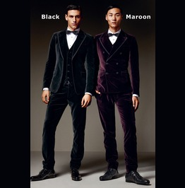 Men Suit Slim Fit 3 Piece Wedding Velvet Gothic Custom Groom Prom Suit