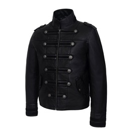 Men Black Military Style Leather Jacket Steampunk Batman Real Leather Jacke