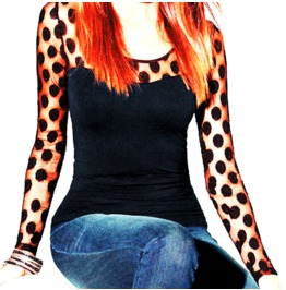 Pretty! Black Top With Polka Dot Net Sleeve Design Uk Size 12/14