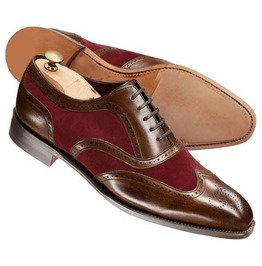 Handmade Men Brown And Burgundy Wing Tip Shoes, Men Two Tone Formal Shoes