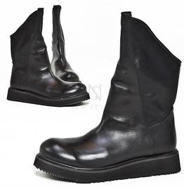 Asymmetric Black Long High Top Boots 418