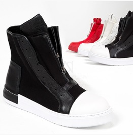 Double Zipper High Top Sneakers 416