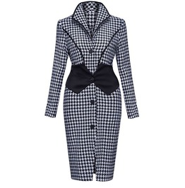 Vintage Houndstooth Patchwork Slim Fit Dress
