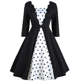 Vintage Rockabilly Black White Polka Dots Dress