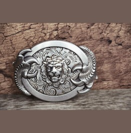 Mens Belt Buckle Solid Metal Alloy Buckle Lion Monster Vintage Silver Color