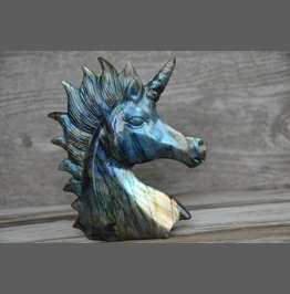 Gemstone Carved Labradorite Ornament Unicorn Horse Men Gift Home Decor