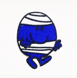 Smile Blue Cartoon Bandage Embroidered Iron On Patch.