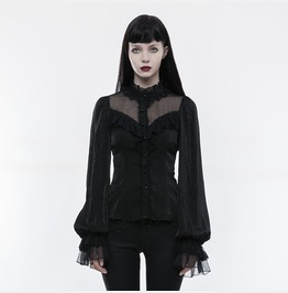 Punk Rave Women's Lolita Bubble Bell Sleeves Lace Up Shirt Ly074