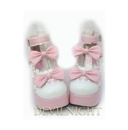 Dreamy Pink Bow Sweet Lolita Platform Shoes Del 0003