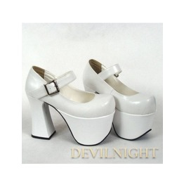 White Classic Simple Lolita High Heel Shoes Del 0005