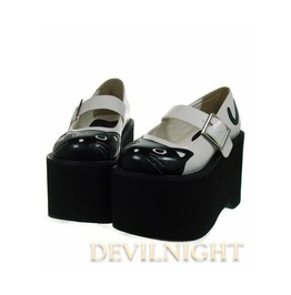 Black And White Cat Pattern Sweet Lolita Platform Shoes Del 0006