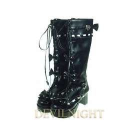 Black Sweet Lolita High Heel Boots With Bows And Buckles Del 0008