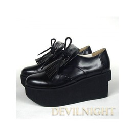 Black Classic Lolita Platform Shoes With Chalaza And Tassels Del 0013