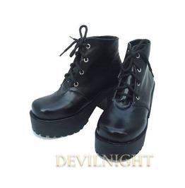Black Gothic Lolita High Heel Ankle Boots Del 0015
