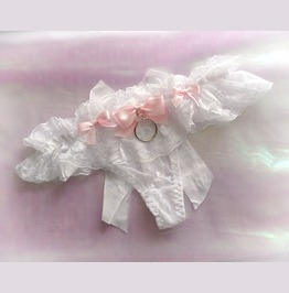 Daddys Girl Lingerie Ruffles White Lace Heart Thong Pantie Pink Bow O Ring