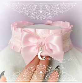 Kitten Pet Play Collar , Bdsm Ddlg Choker Necklace Pink Satin White Moon
