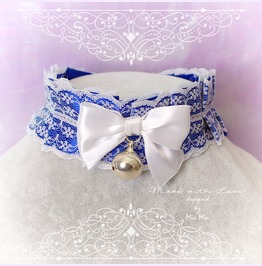 Kitten Pet Play Collar Choker Necklace Navy Royal Blue White Lace Bow Bell