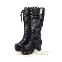 Black Lace Up High Heel Sweet Lolita Boots With Cute Little Bows Del 0041