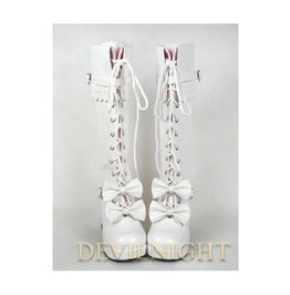 Dashing White Sweet Bow Lace Up High Heel Lolita Boots Del 0039