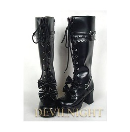 Dashing Black Sweet Bow Lace Up High Heel Lolita Boots Del 0039