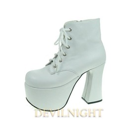 White Chalaza Lacing Classic Lolita Ankle Boots With High Platform Del 0037