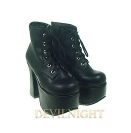 Black Chalaza Lacing Classic Lolita Ankle Boots With High Platform Del 0037