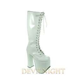 White High Heel Gothic Lolita Boots With High Platforms Del 0036