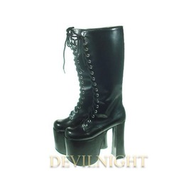 Black High Heel Gothic Lolita Boots With High Platforms Del 0036