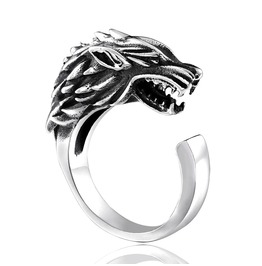 Unisex's Fashion Style Animal Series Wolf Open Ring