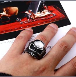 Men's Silver Black Wing Skull Bone Titanium Stainless Steel Ring