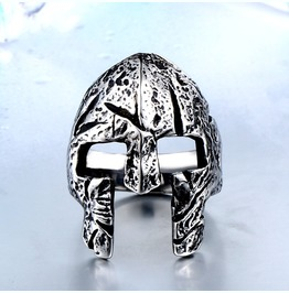 Men's Hero Of Sparta Mask Carved Titanium Stainless Steel Ring
