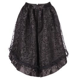 Women's Githic Floral Jacquard High/Low Ruffle Skirt