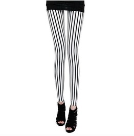 Black White Stripe Leggings Pants