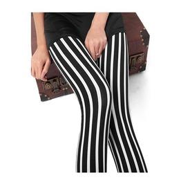 Black White Stripe Leggings Pants
