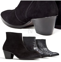 Black Leather High Heel Ankle Boots 421