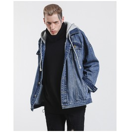 Men's False Two Piece Hooded Oversize Denim Jacket