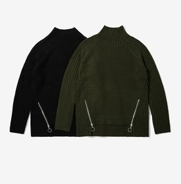 Men's Zipper Deco High/Low Choker Sweater