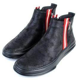 Men's Contrast Stripe Deco Faux Suede Martin Boots