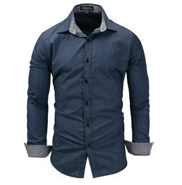 Men's Fashion Stripe Printed Slim Fitted Button Down Shirt