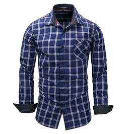 Men's Fashion Plaid Slim Fitted Button Down Shirt