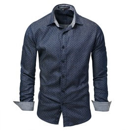 Men's Dot Printed Slim Fitted Button Down Shirt