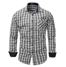 Men's Long Sleeve Plaid Slim Fitted Button Down Shirt