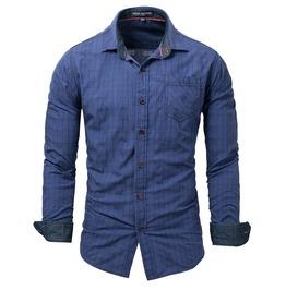 Men's Plaid Printed Denim Trim Slim Fitted Shirt