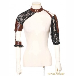 Brown And Black Steampunk Top For Women Sp 142