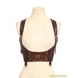 Brown Steampunk Leather Underbust Harness Sp 085 Cf