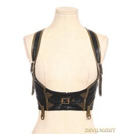 Black Steampunk Leather Underbust Harness Sp 085 Bk