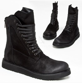 Black Suede High Tongue Boots 417